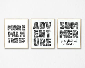 Palm Trees Wall Art,Printable Wall Bundle,Wall Gallery Set,Wall Art Package,Set of 3 Gallery Wall Prints,Digital Print,Instant Download.
