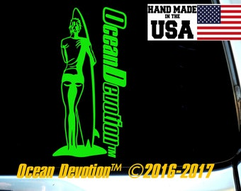 "Surf Girl V6 ""Ocean Devotion"" Vinyl Decal/Sticker- Salt Life, Beach Life,Reel Life Surfing, Fishing, Paddle Boarding, Kite, Sea, Car, Boat"