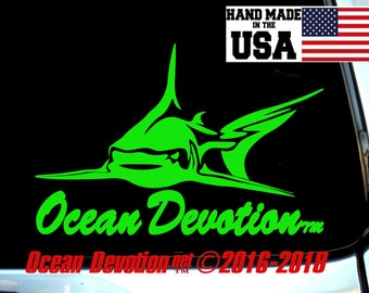 "Shark V5 ""Ocean Devotion"" Vinyl Decal/Sticker - Salt Life, Beach Life, Surfing, Fishing, Water sports, Reel Life, Sea, Car, Boat"