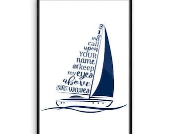 Hillsong United Oceans Deep Where Feet May Fail song lyrics Framed poster by Glendi Designs