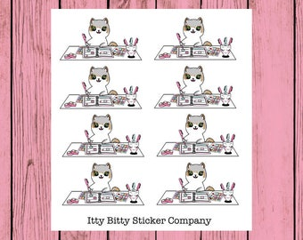 Messy Desk Half Box Mauly - Hand Drawn IttyBitty Kitty Collection - Planner Stickers