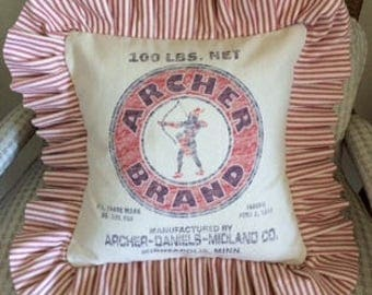 Grain Sack Pillows- Striped Ticking Pillow-Archer Brand-Farmhouse-Cottage Style-Decorative-Shabby Chic