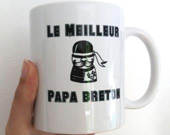 "Fathers day mug shown ""best dad breton"" white, black"