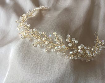 Hair vine, bridal hair headpiece, wedding hair piece, crystal wedding vine clear color
