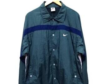 Hot Sale!!! Rare Vintage 90s NIKE OG Embroidery Logo Multicolor Snap Button Windbreaker Jacket Hip Hop Hipster Swag Large Size