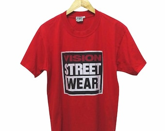 Hot Sale!!! Rare Vintage 90s VISION STREET WEAR Big Spell Out Logo T-Shirt Hip Hop Skate Swag Medium Size