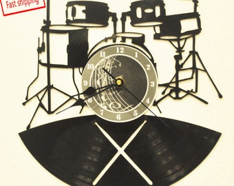 Music/Drum Kit themed Vinyl Album Record Clock made in the > USA < with FREE Shipping!