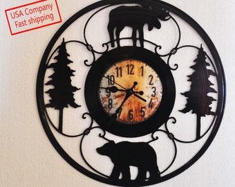 Moose-Deer-Cabin vinyl record clock *FREE SHIPPING*