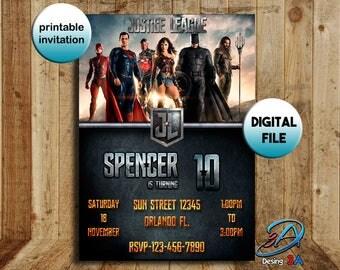 Justice League, Justice League Invitation, Justice League party, Justice League birthday, League Superheros