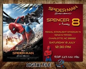 Spiderman Homecoming, Spider-Man Homecoming Invitation, Spiderman Party, Spiderman Birthday, Spiderman printable, Superhero