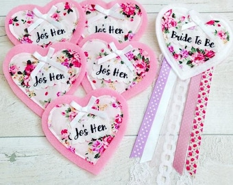 Hen Party Badge Set - hearts, Hen Accessories, Floral Badge, Hen Party, Baby Shower Badges,