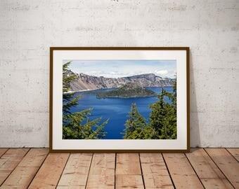 Crater Lake Art,Volcano Art,Oregon Art,Room Decor,Dorm Art Print,Large Wall Art Print,Lake Art,Blue,Water,America Art,Mountain Art,Winter,