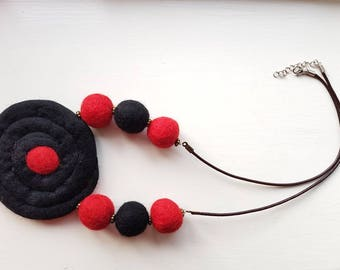 Black and red felted necklace.