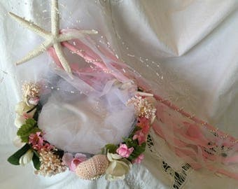 Adorable and delicate beach wedding pink and cream flower girl crown and wand.