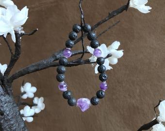Ultraviolet, Amethyst, Lava Bead, Bracelet, Essential Oil Diffuser, Lava Bead, Aromatherapy, Gemstone, Calming, Meditation