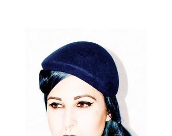 Blue half hat in felt fabric