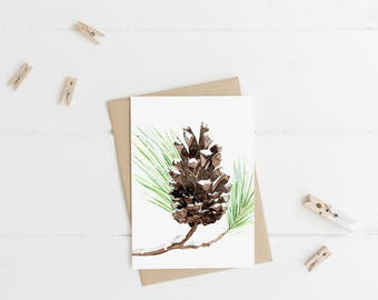 """Snow Pine Cone - Note Cards - 4""""x6"""" - Individual - Greeting Card - Gifts -Nature Art -Pine Cone - Winter - Seasonal - Pine Tree - Snow"""