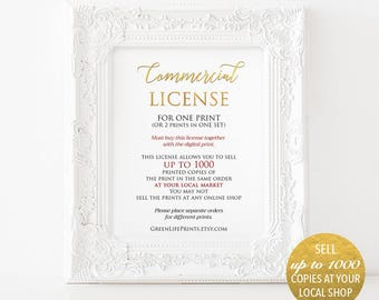 Commercial use license for selling printed copy of one art print at your local market, selling up to 1000 copies without credits