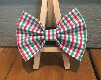 NEW! Christmas Gingham Dog Bow Tie, Red and Green Check dog bow tie