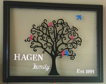Personalized Family Tree Glass Decor