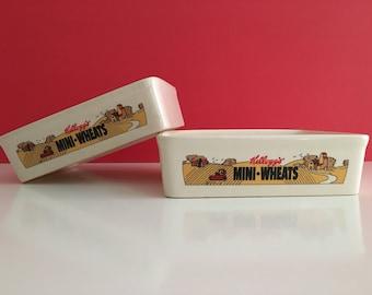 Vintage Kellogg Mini-Wheats Ceramic Cereal Bowls