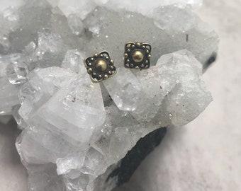 Brass sri mandala stud earrings