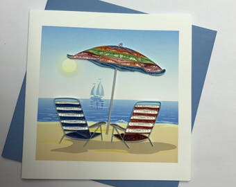 Beach Chair Quilling Greeting Card