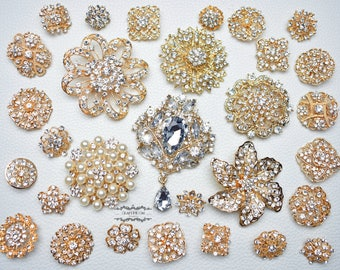 30 Gold Rhinestone Brooch Lot Assorted Wedding Bouquet Brooch Pearl Crystal Wholesale Mixed Button Pin Bridal Cake Sash Embellishment DIY