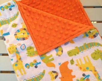 Custom Made Blanket, Lovey, Animal Blanket, Newborn Baby Blanket, Personalized Blanket, Minky Baby Blanket, Handmade Blanket, Animals
