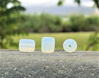 Cultured sea glass barrel nugget beads, Moonstone, 10x8 mm, 17 pc