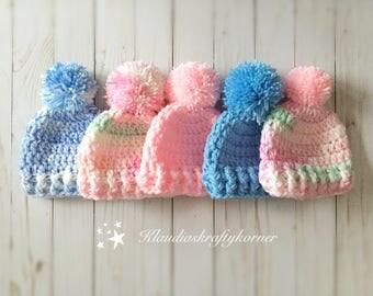 Newborn hat, crochet hat, crochet baby hat, baby hat, pom pom hat, winter hat,  crochet newborn hat, hat, newborn beanie, baby shower gift