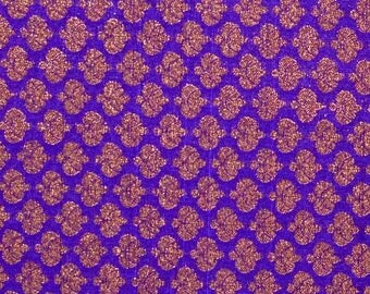 SALE 15% Free Shipping Half Yard of Blue and Golden Zari work Brocade Silk Fabric, Banarasi Silk, Indian Silk Fabric