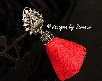 Red / Mauve / Blue Victorian Tassel Earrings