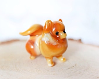 Glass dog spitz figurine animals glass dog miniature art glass dogs toy murano animals tiny small figure glass puppy dog sculpture