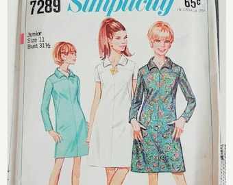 1ST ANNIVERSARY SALE 1967 Simplicity 7289 Juniors A Line Front Yoke Dress Size 11 Cut Complete Sewing Pattern ReTrO GrOOvy