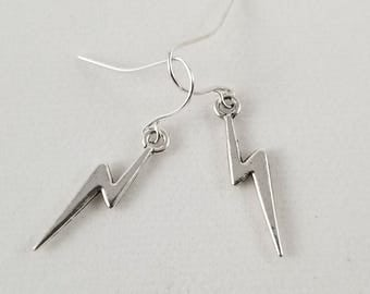 Lightning Earrings, Silver Lightning Bolt Earrings, Dainty Lightning Earrings