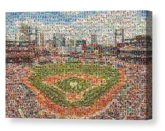 """Unique StL Cardinals Mosaic Art Made of Over 400 Player Card Images. All the Greats!  Stretched on Large Mounted Canvas 1.5"""" Wood Frame."""