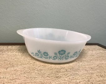 Vintage Maid Of Honor Turquoise Flower 2 QT Casserole Dish