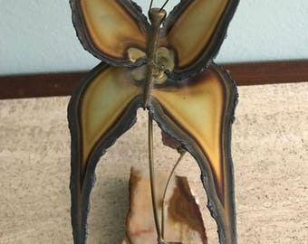 Mid Century Metal Art Butterfly Sculpture - Signed by Artist