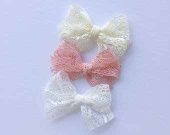 Sweetheart lace bows | dusty pink | ivory | white