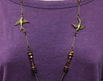 Bird Necklace, Songbird necklace, Bird jewelry, beaded necklace, Brass chain jewelry