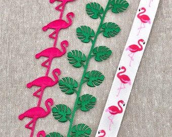 Tropical Ribbon - Flamingo Ribbon - Pink Cut out Flamingo Trim - Tropical Leaf Cut Out Satin - Beach Party Embellishment - Tropical Island