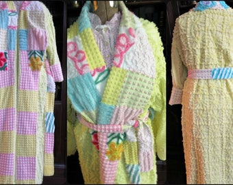 BUTTERCUP Baby Chenille Robe ~ Handmade Plush Quilted Accents Vintage Bathrobe ~ from Gorgeous Blue Ridge Bedspread - May fit up to 1x