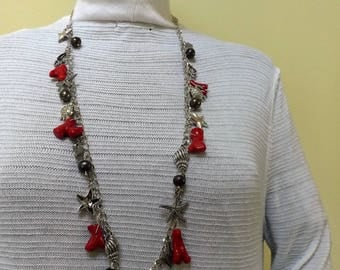 Genuine coral, freshwater pearl necklace and earrings set