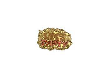 Lets Party Pin Metal Enamel Vintage