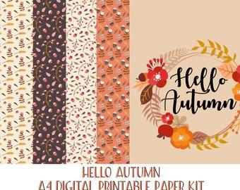 Hello Autumn Paper Kit A4 Printable Digital Scrapbook