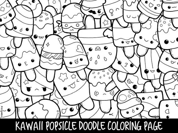 Popsicle Doodle Coloring Page Printable Cute/Kawaii Coloring