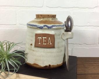 Hand Made Pottery Tea Storage Jar Cork Lid Tea Infuser Set / Vintage Hand Made Stoneware Tea Jar With Tea Infuser Spoon / Pottery Tea Jar