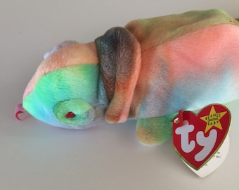 TY Beanie Baby Rainbow the Chameleon Original MWT Date of Birth October 14, 1997
