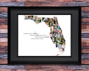 Florida Photo Collage - State of Florida - Florida Wall Art - Florida Map - Florida Home - Florida SVG